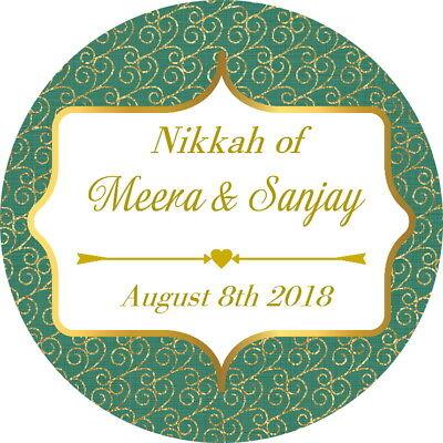Logico Personalised Gloss Nikkah Mendhi Matrimonio, Grazie Adesivi Verde/oro-mostra Il Titolo Originale Fornitura Sufficiente