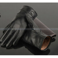 Men Gloves Genuine Leather Sheepskin Winter Warm Driving Luxury Mittens Black