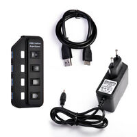 4 Port USB 3.0 Hub On/Off Switches AC Power Adapter Cable for PC Laptop