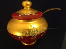 Bohemian Czech Ruby Red Glass Gold Enamel Raised Flowers Center Bowl / Tureen