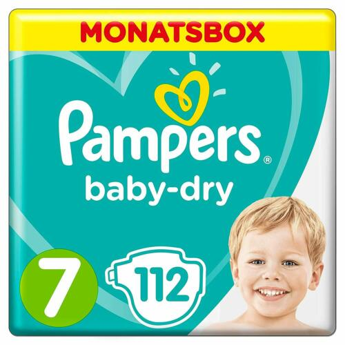 Pampers Baby-Dry Windeln Gr 15+ kg 1 x 112  ... 7 1er Pack Monatsbox