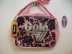 GOLA BORSA MEDIA MIDI REDFORD LACE CUB312 LIGHT PINK BLACK SILVER ROSA NERO ARGE