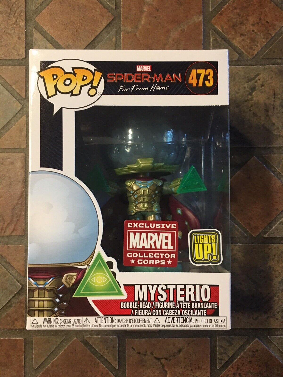 Marvel Funko Pop MYSTERIO LIGHT UP  473 Spider-Man Far From Home Collector Corps