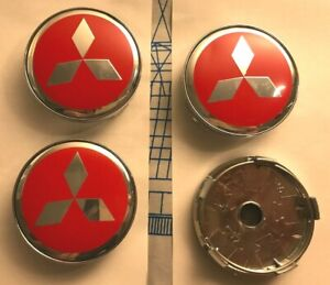 Mitsubishi Alloy Wheel Centre Cap 60mm Red//Silver Set Of 4 Emblem Badge 3D Logo