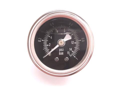 RSR Benzindruck Anzeige Manometer SET 1BAR SCHWARZ Ölgefüllt Benzindruckmesser