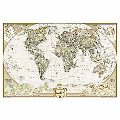 2015 WORLD MAP Wall Political Print Executive National Geographic - 46x30 Paper