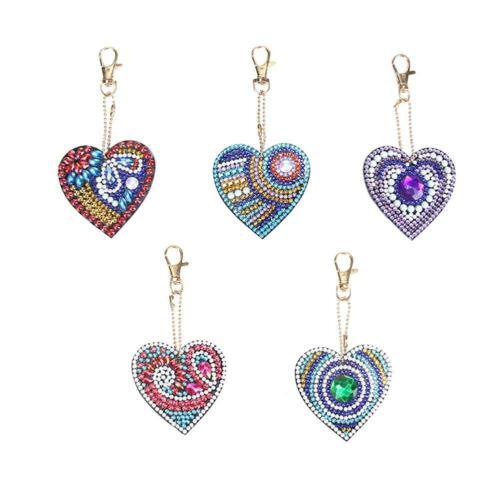 4-5pcs DIY Full Drill Diamond Painting Key Chains Keyring Keychains for Bag Tote