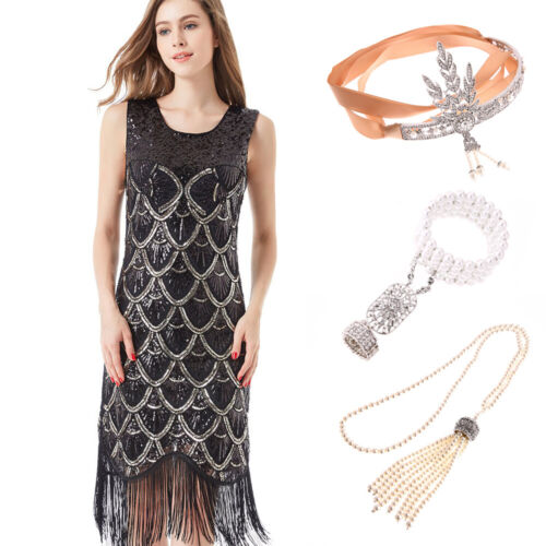 Ladies Black Deluxe 20s Roaring 1920s Flapper Costume Sequin Pearls Fancy Dress