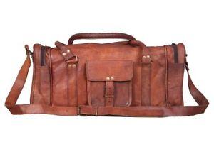 729bd48d60 Image is loading Brown-Large-Mens-Leather-Vintage-Duffle-Luggage-Weekend-