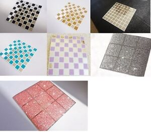 Image Is Loading Mosaic Glitter Mirror Tile Stickers Transfers Kitchen Bathroom