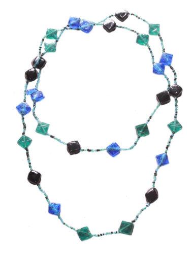 Verde Y Negro Cubo de Piedra /& granos collar largo Oceanía Azul Zx159TR//197