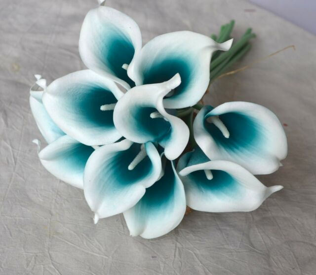 Real Vs Fake Flowers Wedding: Buy 40pcs Teal Picasso Calla Lily Real Touch Flowers For