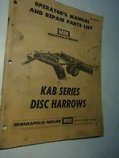 Vintage Minneapolis Moline Kab Series Disc Harrows Operators Manual Parts