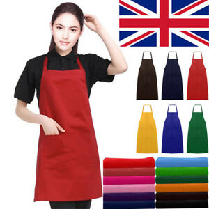 New-Plain-Unisex-Cooking-Catering-Work-Apron-Tabard-with-Twin-Double-Pocket-M3