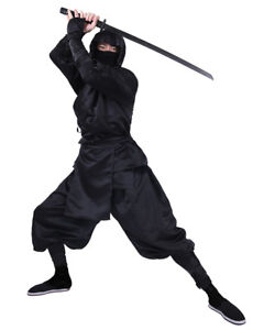 Image is loading Black-Ninja-Costume-Adult-Uniform-Suit-Japanese-Warrior-  sc 1 st  eBay & Black Ninja Costume Adult Uniform Suit Japanese Warrior Cosplay ...