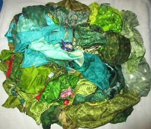 LOT-PURE-SILK-Antique-Vintage-Sari-REMNANT-Fabrics-100-GRAMS-CRAFT-DOLL-QUILT-36