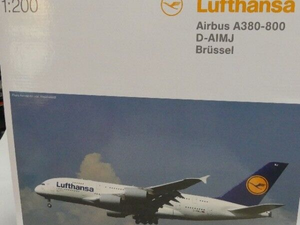 1 200 Herpa Wings Lufthansa Airbus A380-800 D-AIMJ Brüssel 550727-004