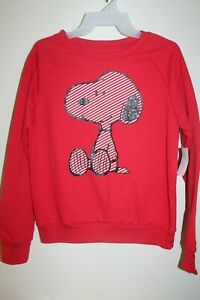 """NEW Snoopy Juniors Fleece Sweatshirt """"Happiness is Peanuts"""" in Red"""