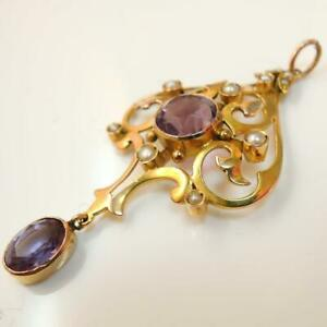 Vintage-Antique-9ct-Gold-Amethyst-amp-Pearl-Pendant