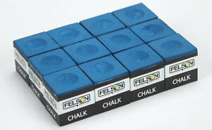 Box of 12 Blue Cue Chalk Cubes for Billiards Pool