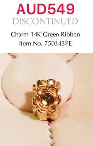 GENUINE-PANDORA-14K-GOLD-CHARM-With-GREEN-RIBBON-750343PE