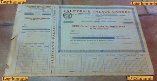 Californie-Palace-Cannes Certificat d/'Actions Nominatives de 100 Francs l/'une