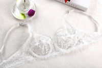 White Lace Trimmed Non Padded Underwire Hollowed-out V shape Bra BNWT 34-40B/C