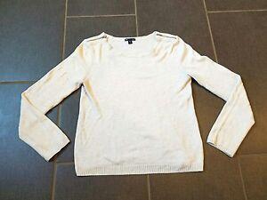 GAP-White-Casual-Sweater-Zippers-Soft-Lightweight-Long-Sleeve-Womens-Sz-M