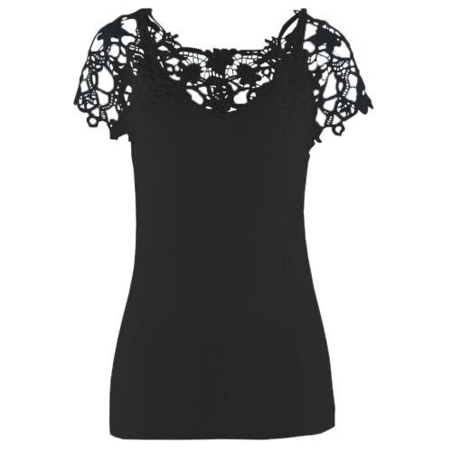Damen Spitze Schulter Solide T-Shirt Sommer Casual Freizeit Blusen Shirts To #09