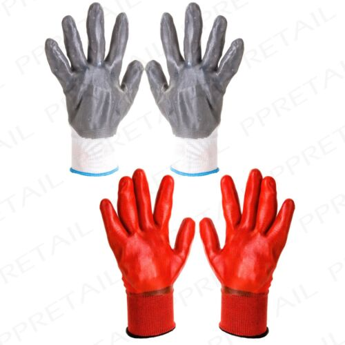 HEAVY DUTY RUBBER PVC GLOVES Decorating//Building//Protective//Safety//DIY//Set//Pair