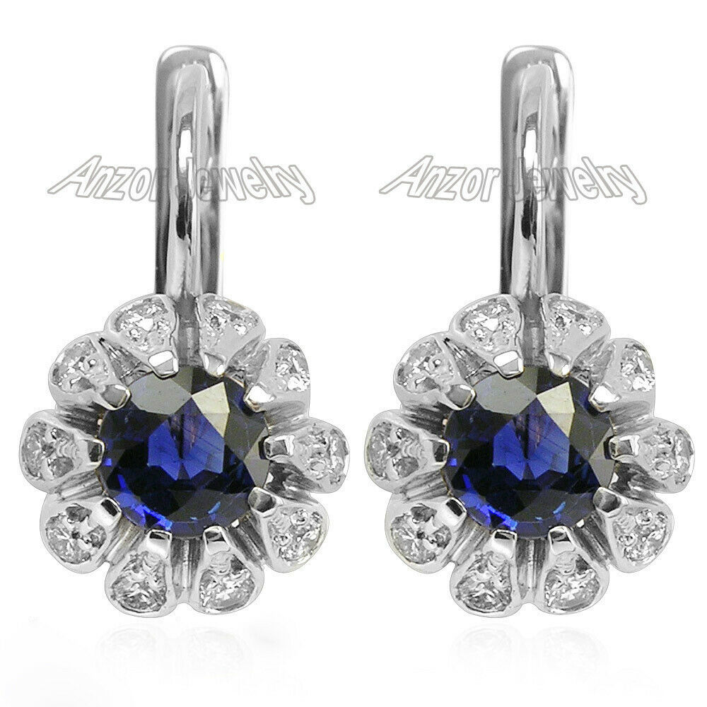 14k Solid White gold Genuine Sapphire and Diamond Earrings Russian design.
