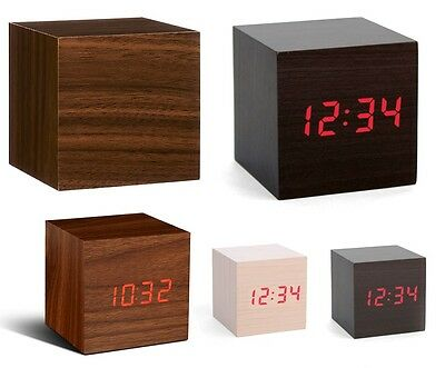Wood Cube LED Alarm Control Digital Desk Clock Wooden Style Room Temperature