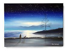 ORIGINAL FINE ART OIL PAINTING BY PETE RUMNEY 'WATCHING STARS' MOONLIT LANDSCAPE