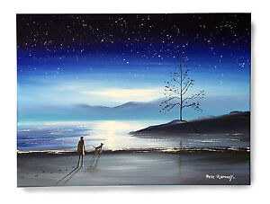 ORIGINAL-FINE-ART-OIL-PAINTING-BY-PETE-RUMNEY-039-WATCHING-STARS-039-MOONLIT-LANDSCAPE