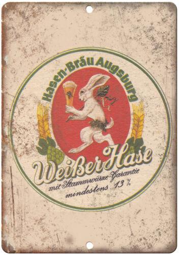 Weiber Hase Hansen Brau Augsburg Beer Vintage Ad Reproduction Metal Sign E128