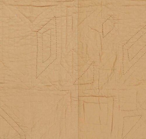 Dakota Star Oversize King Quilt Black Tan Hand Stitched Feathered Star Patchwork