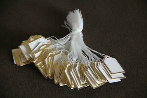 500-White-Paper-String-Price-Tag-Tie-Golden-Border-Label-Jewellery-Watch-Display