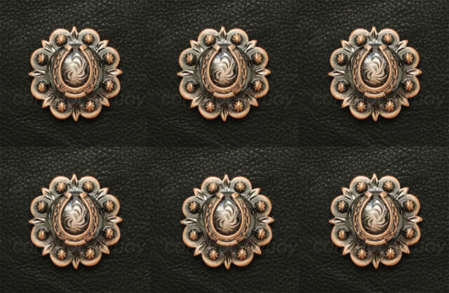 """Set of 6 WESTERN COPPER COLOR ROUND ROPE EDGE STAR SADDLE CONCHOS 1/"""" screw back"""