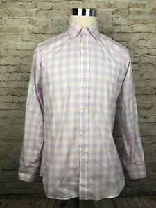 Charles-Tyrwhitt-Slim-Fit-Purple-Gingham-Mens-Long-Sleeve-Button-Front-15-5-33