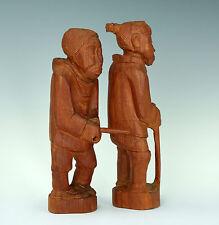 Inuit Kunst Holz Skulptur signiert  Paar Midcentury Wood Sculpture Greenland