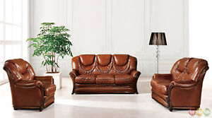 Bella Brown Traditional Italian Leather Sofa Bed 3 Piece Set Carved ...