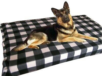 Cosipet® Large Waterproof Foam Pad Cream Check Fleece Dog Bed Free Spare Cover