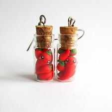 Polymer Clay Kawaii Red Chili Pepper in Glass Jar Vial Funny Earrings Jewelry