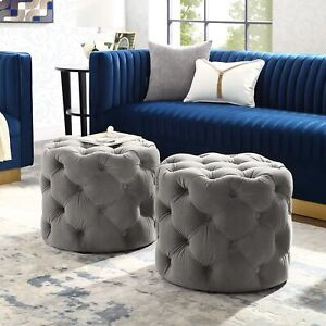 Awe Inspiring Details About Velvet Or Linen Tufted Ottoman Bench Foot Stool Fabric Bedroom Round 1 Pc Machost Co Dining Chair Design Ideas Machostcouk