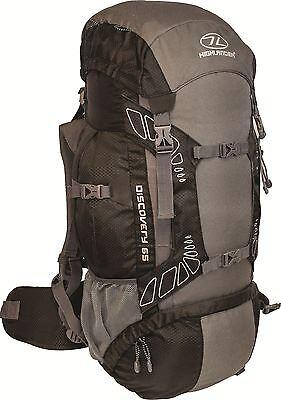 Highlander Travel Rucksack Hiking Backpack Back Pack 45 65 Litre Cover Black New