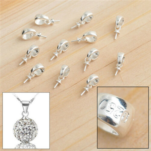 100X Silver Jewelry Findings Cup Cap Bail Connector For Pendant Handmade