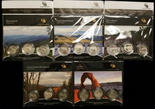 Lot of 5 2014 PDS U.S Mint America the Beautiful Quarter Complete 3 Coin Sets