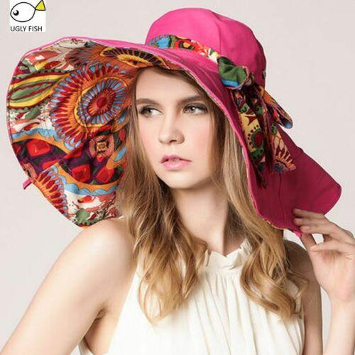 Sun Hats For Women Summer Large Beach Hat Flower Printed Wide Brim Cap Beachwear