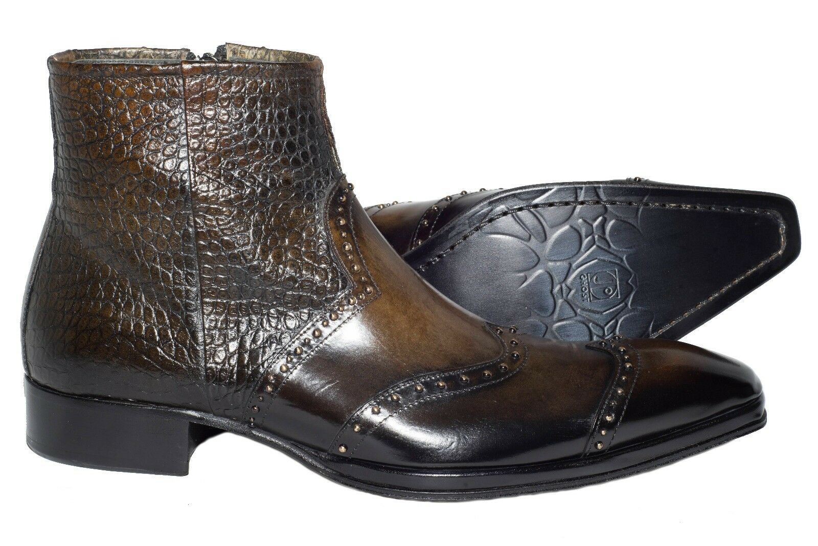 Jo Ghost 740 Italian mens brown/olive ankle boots with metal studs, zipper