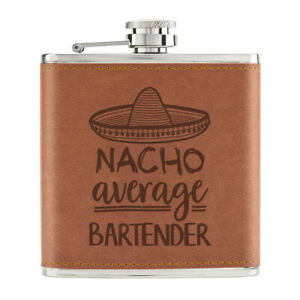 Nacho-Moyenne-Barman-170ml-Cuir-PU-Hip-Flasque-Fauve-Worlds-Best-Awesome-Drole